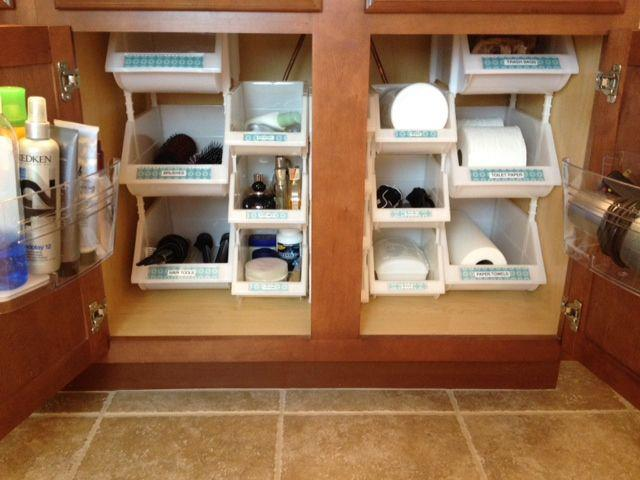organizers bins to maximize vertical space under the sink organizer